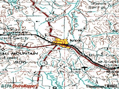 Iuka topographic map