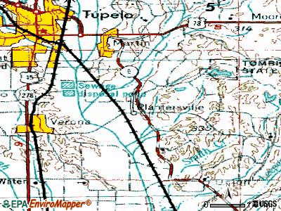 Plantersville topographic map