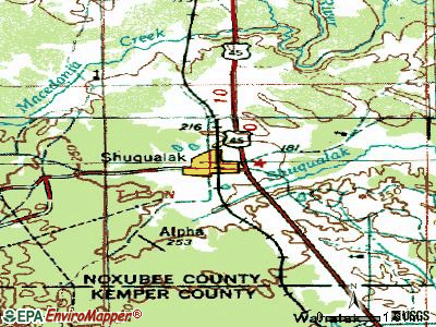 Shuqualak topographic map