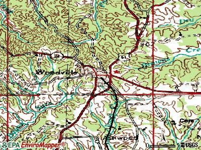 Woodville topographic map