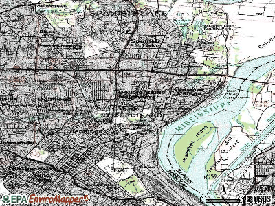 Bellefontaine Neighbors topographic map