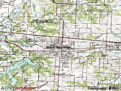 Blue Springs topographic map