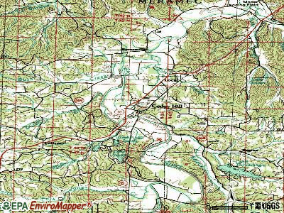 Center topographic map