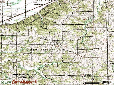 De Kalb topographic map