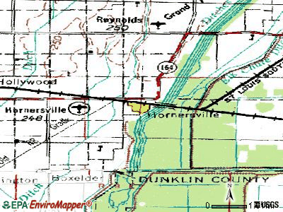 Hornersville topographic map