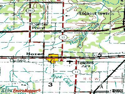 Hazen topographic map