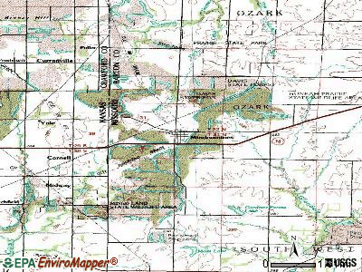 Mindenmines topographic map