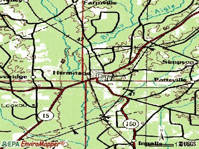 Hermitage topographic map