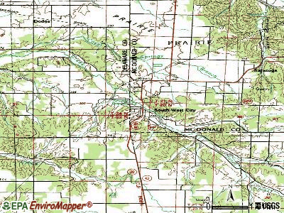 South West City topographic map