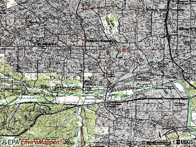 Twin Oaks topographic map