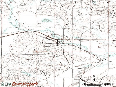 Bainville topographic map