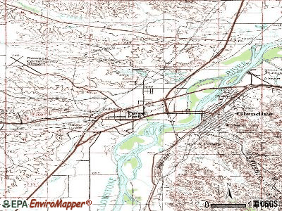 West Glendive topographic map