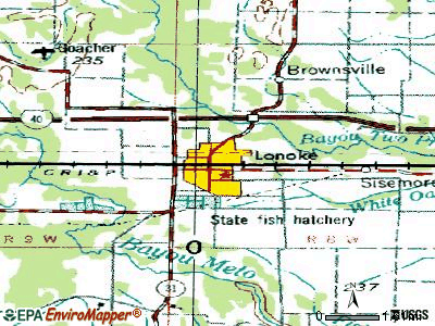 Lonoke topographic map