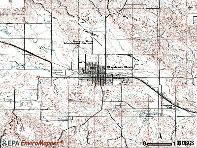 Broken Bow topographic map