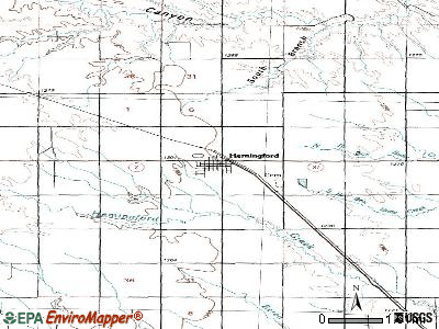 Hemingford topographic map