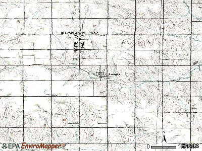 Leigh topographic map