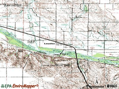 Lewellen topographic map