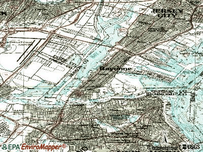 Bayonne topographic map