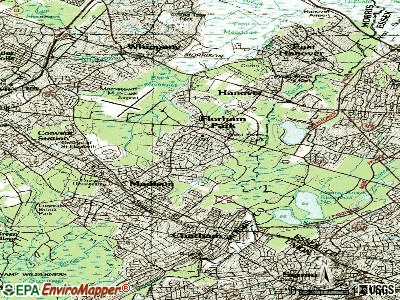 Florham Park topographic map