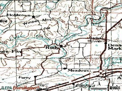 Rudy topographic map