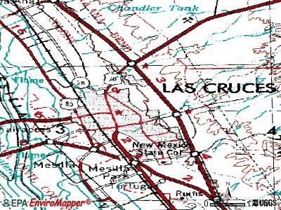 Las Cruces topographic map