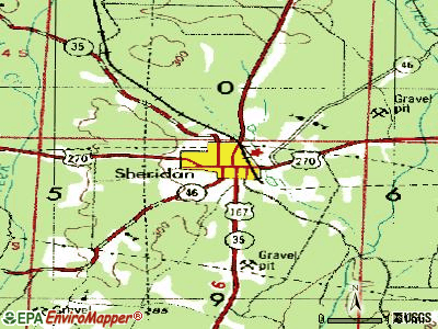 Sheridan topographic map