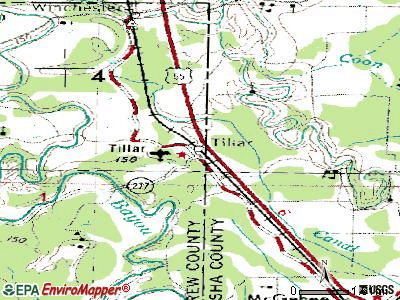 Tillar topographic map