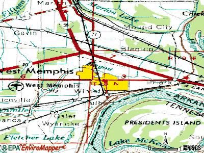 West Memphis topographic map