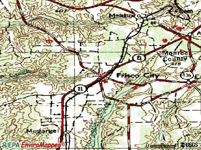 Frisco City topographic map