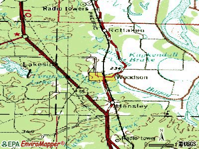 Woodson topographic map
