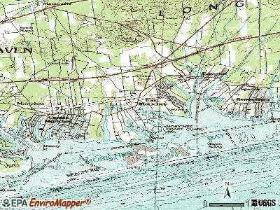 East Moriches topographic map