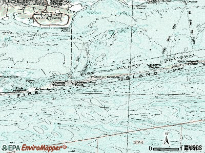 Fire Island topographic map