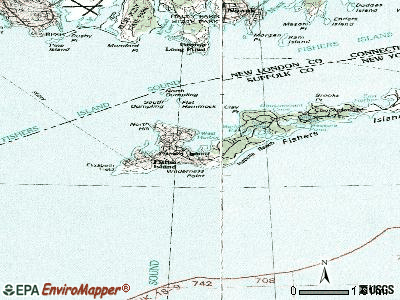 Fishers Island topographic map