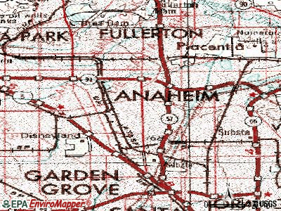 Anaheim topographic map