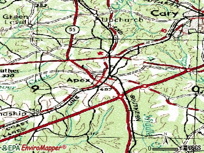 Apex topographic map