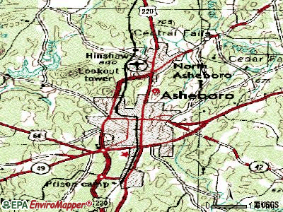 Asheboro topographic map
