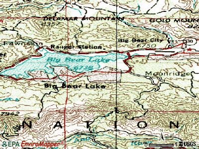Big Bear Lake topographic map