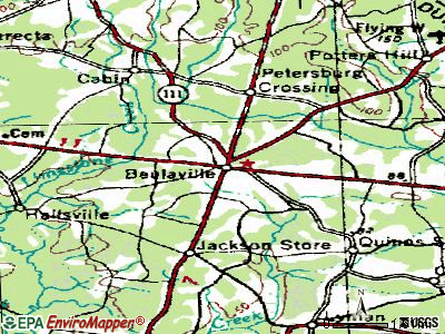Beulaville topographic map