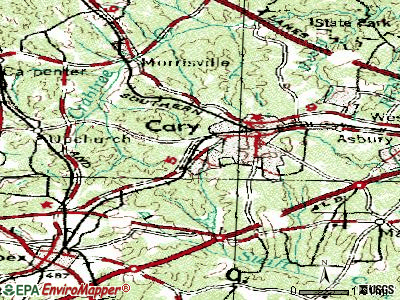 Cary topographic map