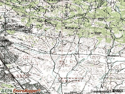 Blackhawk-Camino Tassajara topographic map