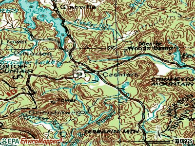 Cashiers topographic map