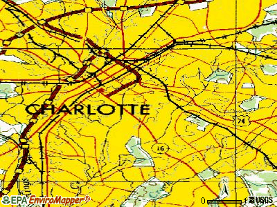 Charlotte topographic map