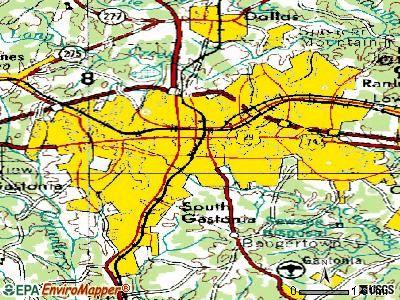 Gastonia topographic map