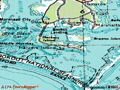 Harkers Island topographic map