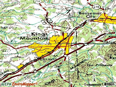 Kings Mountain topographic map
