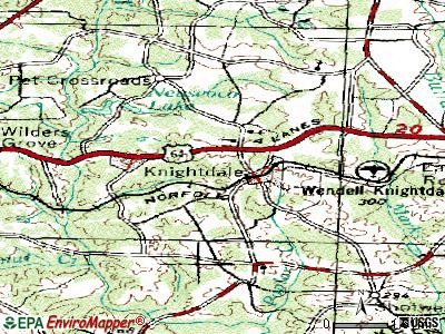 Knightdale topographic map