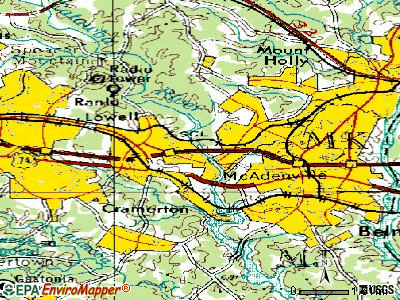 McAdenville topographic map