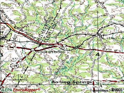 Mooresboro topographic map