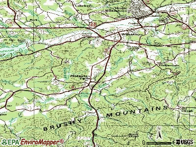 Moravian Falls topographic map
