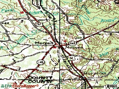 Morven topographic map